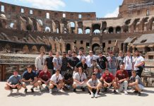 Muhlenberg Football pose for a picture in the Colosseum