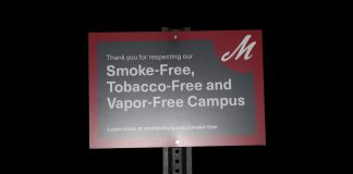 anti-smoking sign on campus